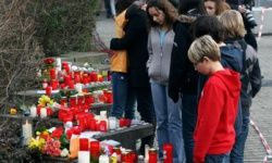 A memorial following the school shootings in Winnenden, Germany in March 2009.