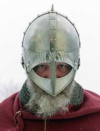 A replica of a Viking helmet