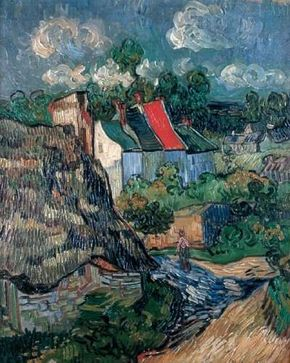 Vincent van Gogh's Houses at Auvers (oil on canvas, 28-1/4x23-3/4 inches) hangs in Boston's Museum of Fine Arts.