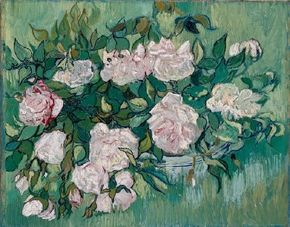 Vincent van Gogh's Pink Roses (oil on canvas, 12-1/2x16 inches) is housed in the Ny Carlsberg Glyptotek, Copenhagen.