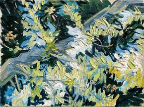 Vincent van Gogh's Blossoming Acacia Branches (oil on canvas, 12-3/4x9-1/2 inches) is housed in The National Museum of Fine Arts in Stockholm.