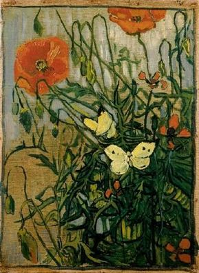 Butterflies and Poppies 13-1/2x10 inches), in the Van Gogh Museum in Amsterdam.