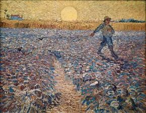 Vincent van Gogh's The Sower is an oil on canvas (25-1/4x31-3/4 inches) that is housed in the Kröller-Müller Museum in Otterlo, Netherlands.