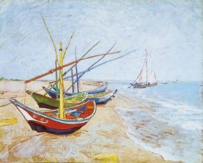 Vincent van Gogh's Fishing Boats on the Beach at Saintes-Maries-de-la-Mer is an oil on canvas (25-1/2x32 inches) that is housed Van Gogh Museum in Amsterdam.