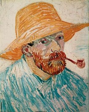 Vincent van Gogh's Self-Portrait with Pipe and Straw Hat is an oil on canvas on cardboard (16-1/2x11-3/4 inches) that is housed in the Van Gogh Museum in Amsterdam.