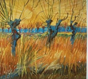 Vincent van Gogh's Willows at Sunset is an oil on cardboard (12-1/2x13-1/2 inches) housed in the Kröller-Müller Museum in Otterlo, Netherlands.