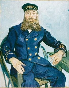 Vincent van Gogh's The Postman Joseph Roulin is an oil on canvas (32x25-3/4 inches) that is housed in the Museum of Fine Arts in Boston.