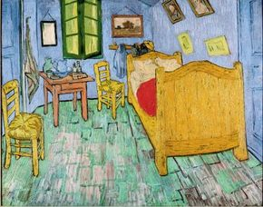 Vincent van Gogh's The Bedroom (oil on canvas, 28-3/4x36-1/4 inches) hangs in the Art Institute of Chicago.