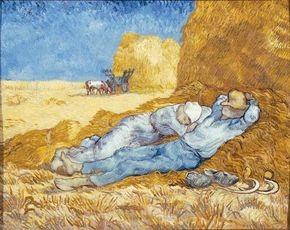 Vincent van Gogh's Noon: Rest from Work (After Millet) (oil on canvas, 28-3/4x35-3/4 inches) is housed in the Musée d'Orsay in Paris.