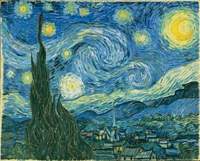 Vincent van Gogh's The Starry Night (oil on canvas, 29x36-1/4 inches) hangs in the Museum of Modern Art in New York.