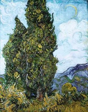 Cypresses by Vincent van Gogh (oil on canvas, 36-3/4x29-1/4 inches) hangs in New York's Metropolitan Museum of Art.