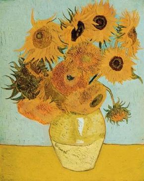 Vincent van Gogh's Still Life: Vase with Twelve Sunflowers (oil on canvas, 35-3/4x28-1/4 inches) is housed at the Bayerische Staatsgemal- Desammlungen, Neue Pinakothek, Munich.