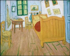 Vincent van Gogh's The Bedroom (oil on canvas, 28-1/4x35-1/2 inches) belongs to the Van Gogh Museum in Amsterdam.