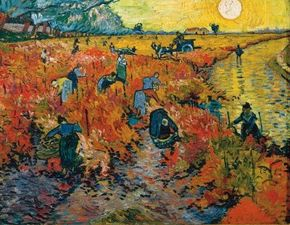 Vincent van Gogh's The Red Vineyard (oil on canvas, 29-1/2x36-1/2 inches) hangs at the Pushkin Museum of Fine Arts in Moscow.