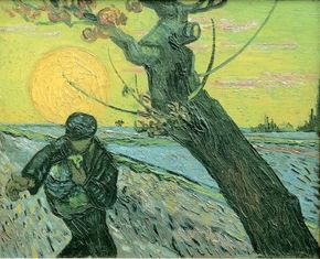 Vincent van Gogh's The Sower (oil on canvas, 12-1/2x15-3/4 inches) hangs in the Van Gogh Museum in Amsterdam.