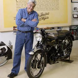 Jay Leno with a Vincent Black Shadow.