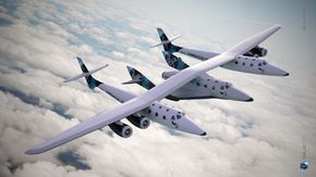 The WhiteKnightTwo takes off just like a regular jet and releases SpaceShipTwo (which is attached in the middle) when it reaches 50,000 feet.