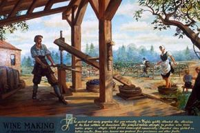 This illustration circa 1754 explains how Jamestown settlers in the 1600s unsuccessfully attempted to make wine in Virginia.