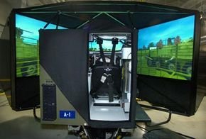 This simulator helps teach soldiers how to drive the Stryker armored vehicle.