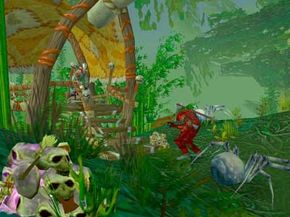 World of Warcraft's Temple of Zul'Gurub features witch doctors, blood drinkers, hoodoo piles and voodoo dolls.