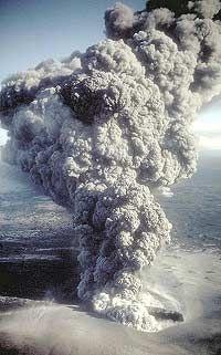 A hydrovolcanic eruption from Ukinrek Volcano, off the coast of Alaska.