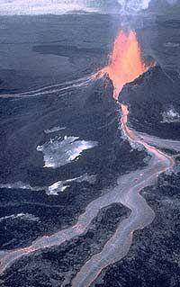 An effusive lava flow from Pu`u `O`o Cone on Kilauea Volcano in Hawaii.