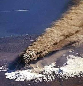 A tall Plinian plume erupts from Klyuchevskaya Volcano in Russia.