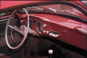 The Karmann-Ghia dashboard used Beetle switches, but more stylish. The Karmann-Ghia lacked vent windows, so cabin ventilation did match that of the Bug.