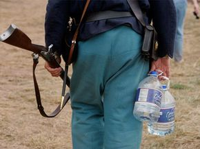 On hot days, you might want to bring your own water, but consider putting it in a period canteen, lest you ruin the effect.