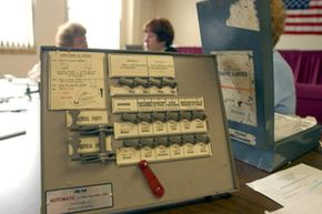 Instructions for voters are displayed at a Homestead, Penn., polling station on November 2, 2004.
