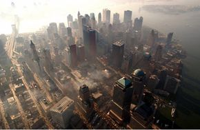 """An aerial view of """"ground zero"""" in early October 2001"""