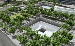An artist's rendition of an aerial view of the World Trade Center memorial