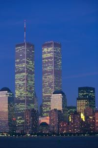 The twin towers as they once stood against the night sky. See more skyline pictures.