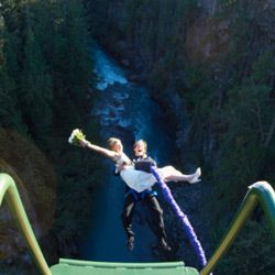 Outdoor lovers could follow the example of these bungee-jumping newlyweds by taking both the figurative and literal plunge.