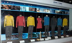 """Have the wedding participants wear """"Star Trek"""" costumes, like these Star Fleet uniforms on display that were used in the 2009 film."""