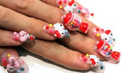 Getting a Hello Kitty manicure is one way to incorporate this theme in your wedding day attire.