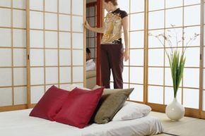 Shoji screens don't just divide living spaces. They can also add height and exotic elegance to a room.