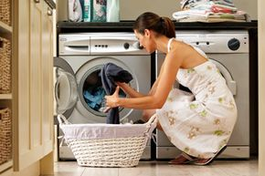 Front-load washers like the one shown above are becoming increasingly popular.