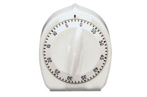 A washing machine timer looks a little different from this kitchen timer, but the principle is the same: Timing is crucial.