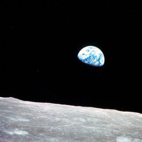 This famous photo, taken from the Apollo 8 spacecraft in December 1968, shows the Earth rising over the moon's surface.See more moon pictures.