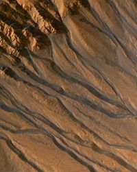 The High Resolution Imaging Science Experiment (HiRISE) camera captured images of gully channels on Mars.