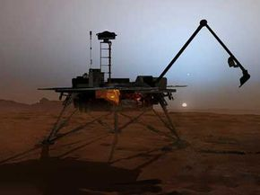This artist's rendering depicts the Phoenix Mars Lander at work on the Martian surface.