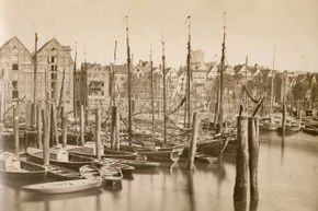 Warehouses on the River Elbe in Hamburg, Germany around the time residents suffered a cholera epidemic that killed 7,500.