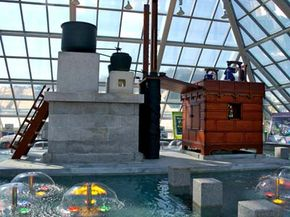 A recreation of a Korean water clock known as Jagyeongnu sits on display in middle of a fountain in Chuncheon, South Korea.
