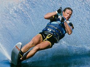 Slalom water-skier on a lake in Utah