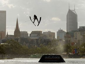 Ryan Dodd of Canada competes in the Mens Jump Final during the Moomba Masters Waterski Championships  in Melbourne, Australia.