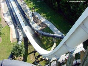 When you climb to the top of this towering water slide, you've built up a lot of potential energy for your trip down the slope.