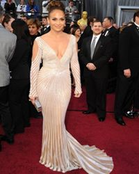 Definitely a bolder option: Actress Jennifer Lopez poses on the red carpet at the 84th Annual Academy Awards on Feb. 26, 2012.