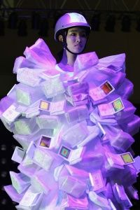 A model walking the cat walk during South Korea's Ubiquitous Fashionable Computer fashion show in 2006. Obviously, clothing-based tech has to be more wearable than this to catch on with the masses.