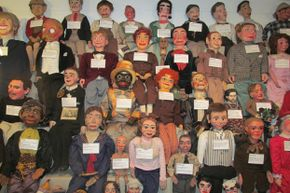 Some of the many ventriloquist figures at the Vent Haven Museum, the only museum of its kind in the world.